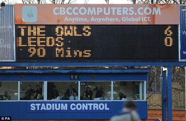 Rout: The scoreboard did not make pleasant reading for Leeds United fans on the final whistle in January