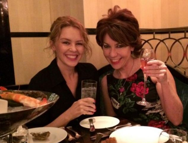 Best of friends: Popstar Kylie Minogue and Kathy Lette at the Savoy in London