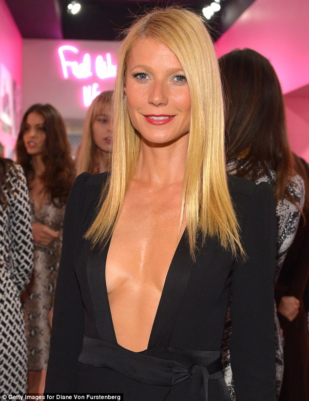 Daring: Gwyneth Paltrow left little to the imagination in this plunging jumpsuit at the DVF exhibition launch in LA on Friday