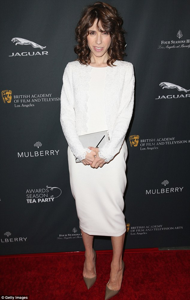 What a babe: Sally Hawkins looked stunning in a white lace dress at the BAFTA Los Angeles Awards Season Tea Party