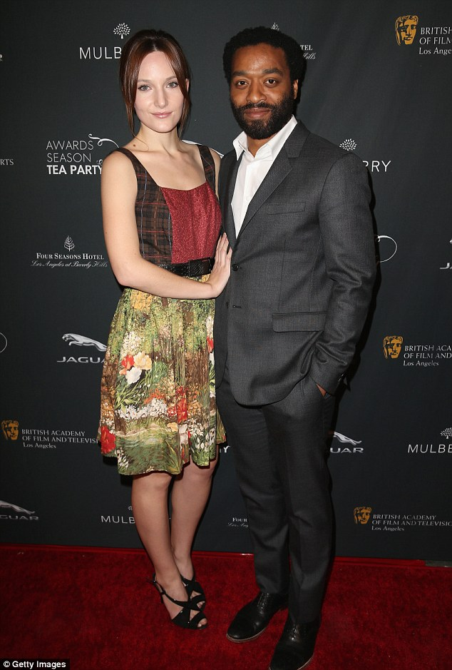 Proud moment: Golden Globe Best Actor nominee Chiwetel Ejiofor attends with his model girlfriend Sari Mercer