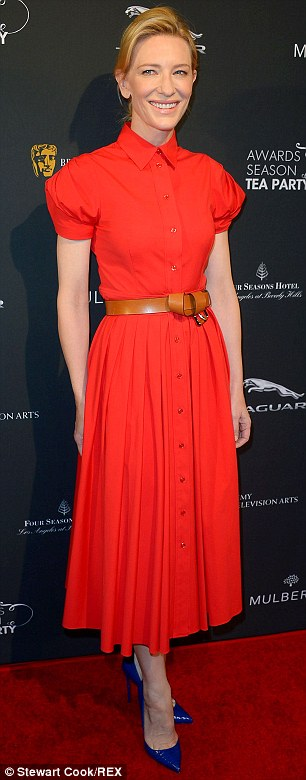 Classic: Cate Blanchett arrived in a forties-inspired red shirt dress by Michael Kors with a tan belt looped around her waist