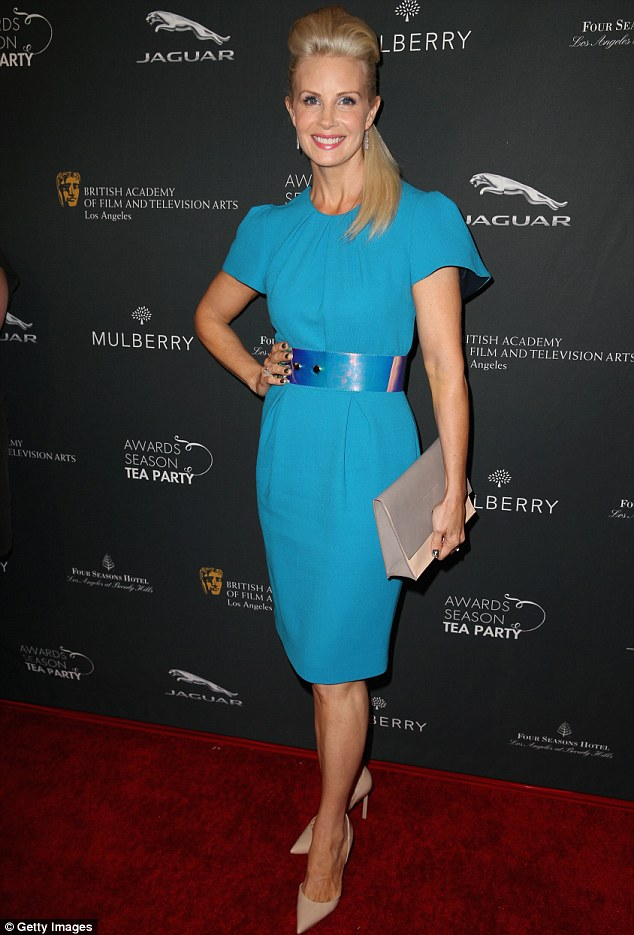 Bit of blue: Parenthood actress Monica Potter went for a bold dress, and even bolder quiff
