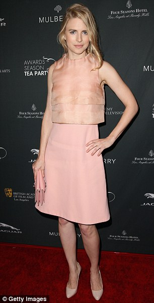 Spring styling: Brit Marling (in Mulberry) and Sarah Gadon opted for short dresses with colour
