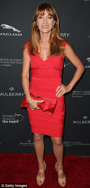 Vintage beauty: Jane Seymour looked sexy in a red bodycon dress and nude sandals, while Julia Verdin equally stunned in black and white