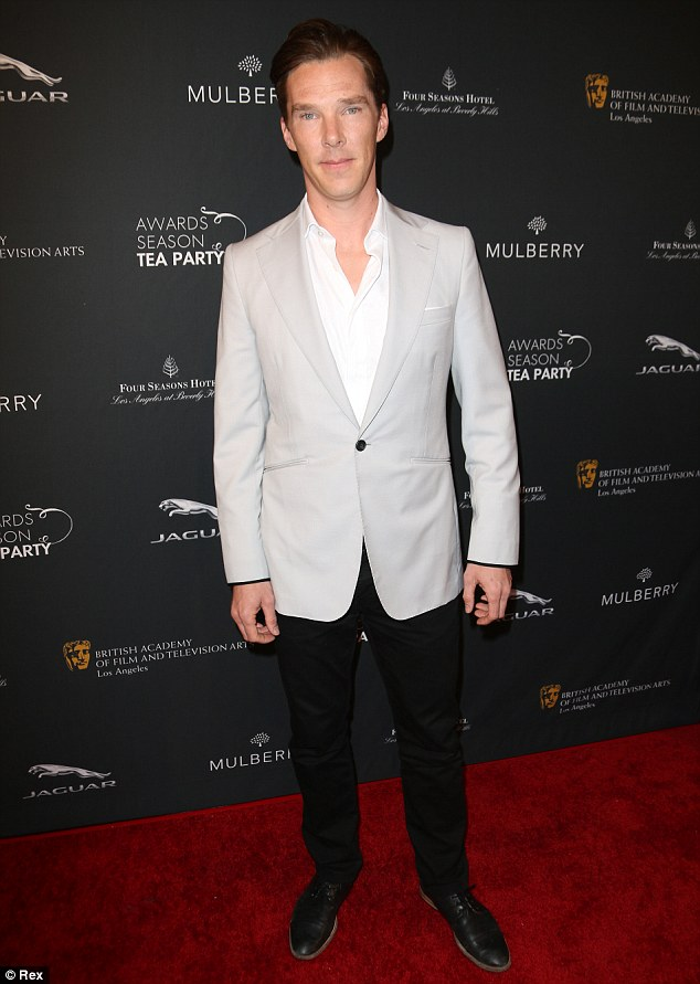 Cumbercool: Benedict Cumberbatch arrived in a grey blazer, white shirt and his hair slicked back on Saturday night