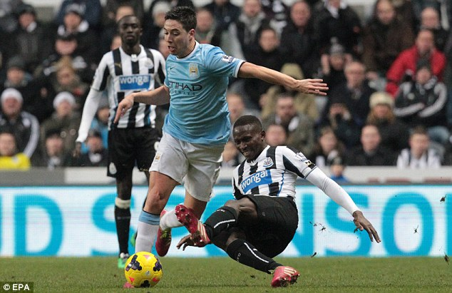 How long? Manchester City are waiting to see the extent of Nasri's injury sustained at Newcastle