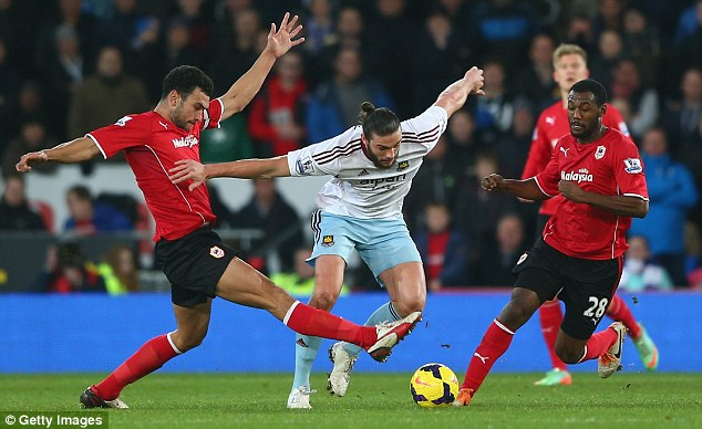 Timely boost: Andy Carroll made his first team return during the impressive win away at Cardiff on Saturday