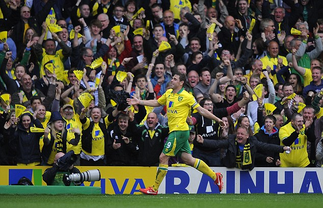 Yellow fever: Holt enjoyed one of the best period of his career under Lambert at their former club Norwich