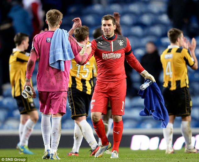 Well played: Rangers' keeper Cammy Bell (right) salutes East Fife counterpart Greg Robertson after playing for 90 minutes, despite picking up an injury during the warm up.