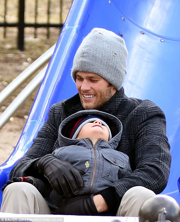 So cute! Tom Brady was seen playing with his son Benjamin at the park in Boston, Massachusetts on Sunday - following his Patriots win