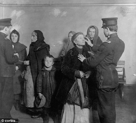 Medical examination of newly arrived immigrants on Ellis Island, New York, in 1911. Passengers of Titanic II will probably not be subjected to such scrutiny, but Mr Palmer has expressed interest in hosing them in confetti to recreate the experience of delousing