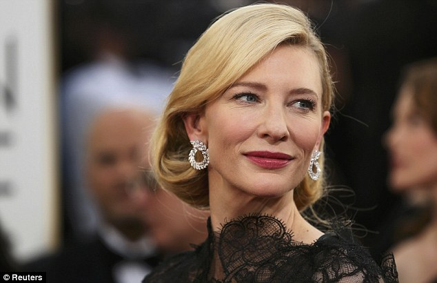 Diamonds are a girl's best friend: Cate accessorized with large diamond earrings at the Golden Globes