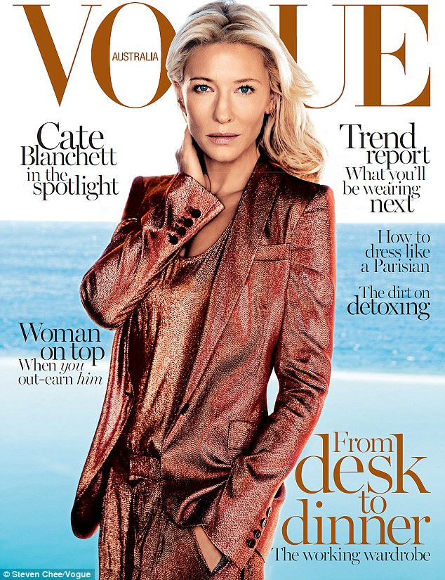 Cover girl: Cate Blanchett covers the February issue of Vogue Australia in a Gucci copper suit
