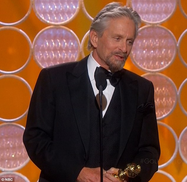 Back on track: Michael Douglas thanked his wife Catherine Zeta-Jones as he picked up the Best Actor in a Mini-Series or Motion Picture gong at the Golden Globe Awards on Sunday
