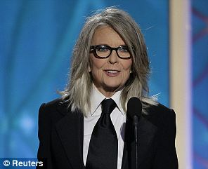On his behalf: Diane Keaton accepting the award for Woody Allen