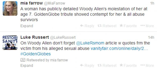 Outrage: Farrow continued to tweet about her daughter's allegations of sexual abuse on Monday