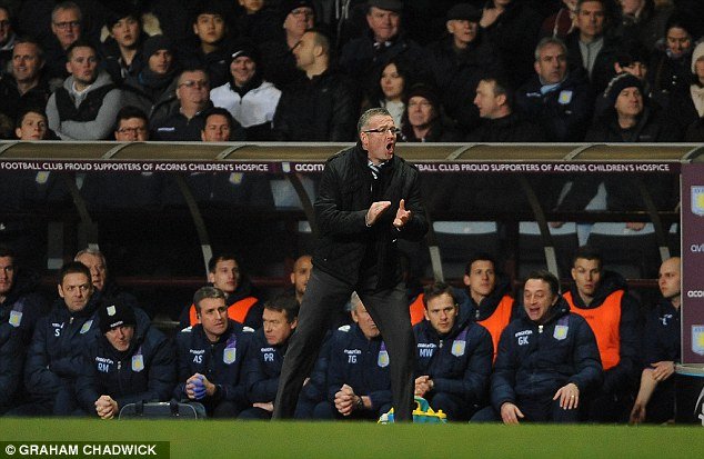 Encouragement: An animated Paul Lambert urges his side on from the touchline
