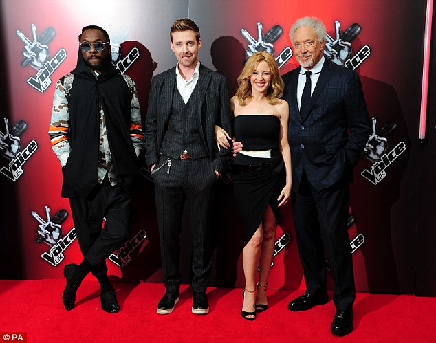 All-stars: (left to right) Will.i.am, Ricky Wilson, Kylie Minogue and Tom Jones make up this year's coaching line-up