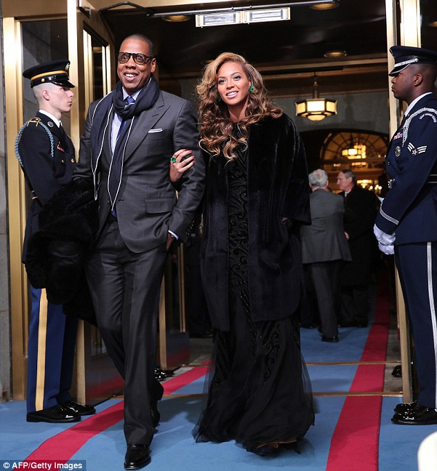 Presidential suite! Beyonce and husband Jay-Z arrive at President Barack Obama's inauguration in January last year