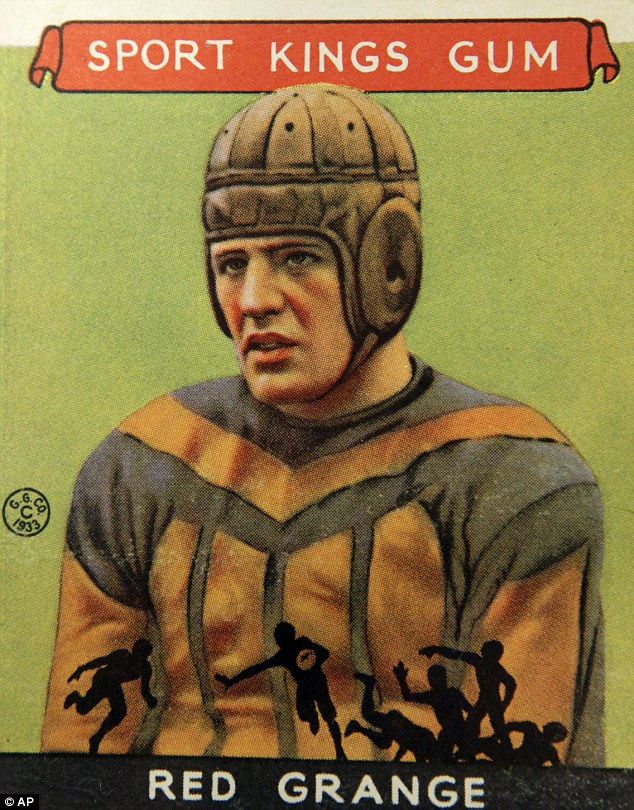 Old school: This 1933 Red Grange football trading card is included in the Met's exhibition of 150 cards