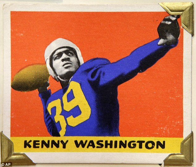 Incredible history: UCLA tailback and Los Angeles Rams running back Kenny Washington is shown in this 1948 Leaf Gum Company football trading card. Washington played alongside Jackie Robinson at UCLA and in 1946 became one of the first black players in the NFL after a 12-year ban