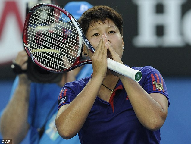 Disbelief: Thailand's Luksika Kumkhum reacts after beating Kvitova in three sets in the first round
