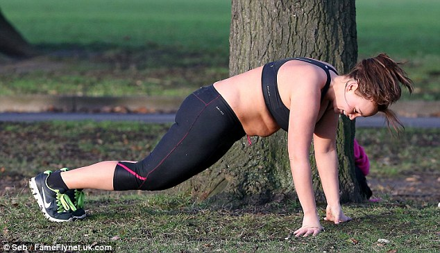 Drop and give me ten: Chanelle performed a series of burpees in her workout