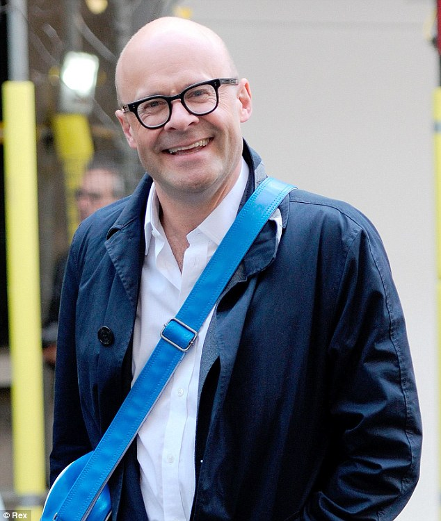 How surreal: Harry Hill wears a white shirt, with a normal-sized collar