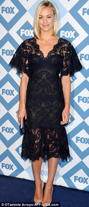 Night in black lace: Yvonne Strahovski and Hannah Simone both sported black ensembles with the blonde Dexter star teaming her outfit with nude heels
