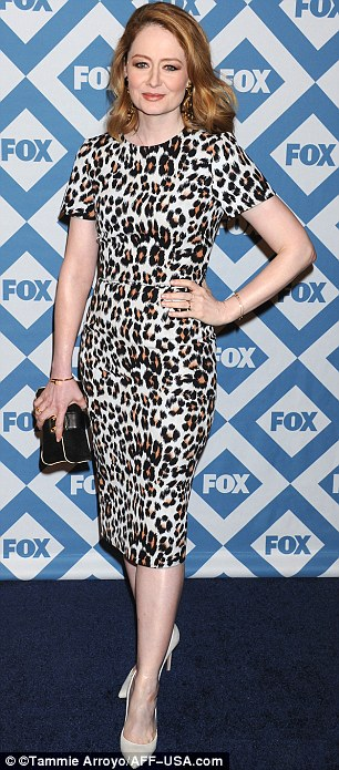 Animal magic: Miranda Otto sported a leopardprint dress and nude heels, while Glee star Jenna wore a black and white patterned mini dress