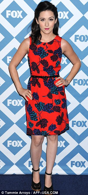 Leading brights: Shannon Woodward sported a pretty red dress with leaf design