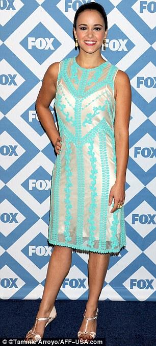 Glamorous co-stars: Samberg's Brooklyn Nine-Nine co-stars Meliussa Fumero