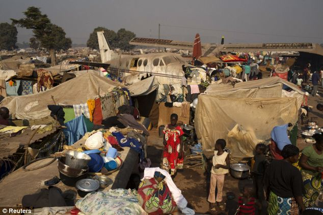 A temporary camp for internally displaced persons (IDPs) at the airport of the capital Bangui