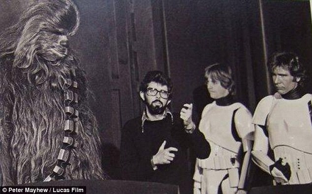 At work: George Lucas directing Mark Hamill as well as Harrison and Peter