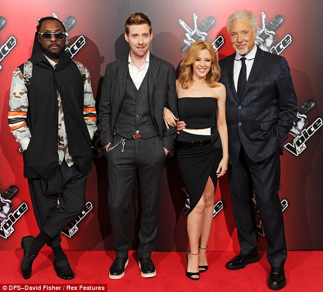 New pals: Ricky is now part of The Voice with Kylie Minogue, Tom Jones and will.i.am