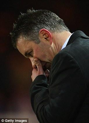 Darren Ferguson manager of Peterborough United looks dejected