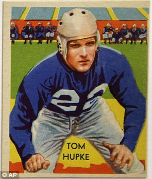 This card of Tom Hupke is among a set of 1935 National Chicle Gum Company vintage football trading cards