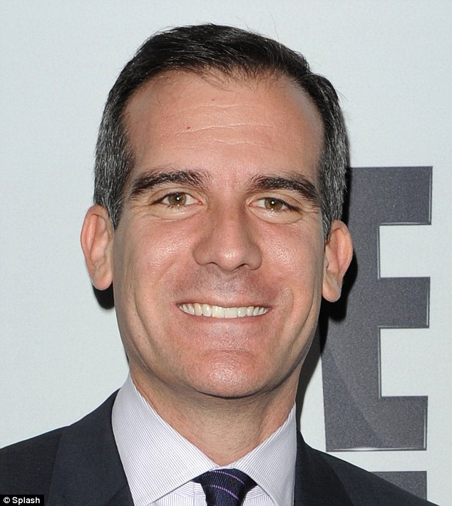 Worried: Los Angeles Mayor Eric Garcetti says he's concerned about the woman involved in the accident and looks forward to speaking with her