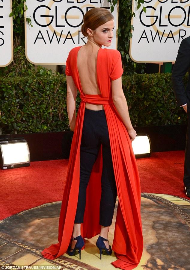 A back like U: Emma Watson showcases the U-line, which outlines the shape of a woman's back when she wears a low-cut dress