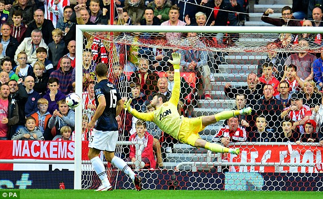Flying through the air: De Gea has impressed after a difficult start to his United career
