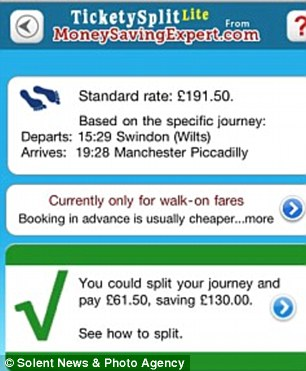 Ticketysplit: The app works by splitting up your journey to get you a cheaper price