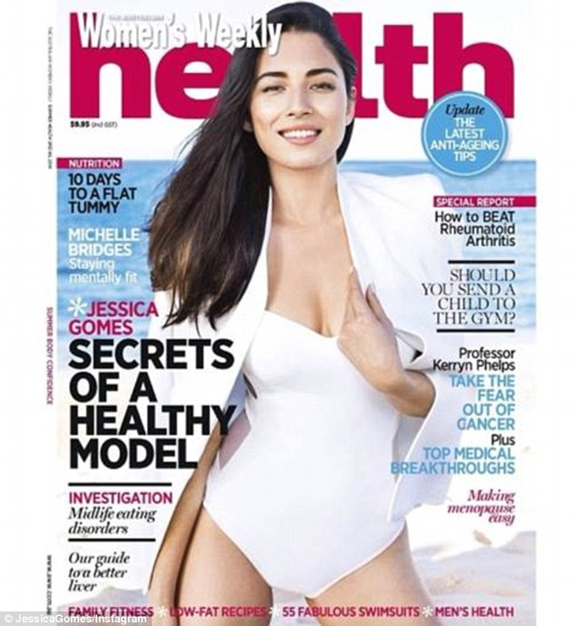 Cover girl: Jessica Gomes posted this swimsuit cover shot of herself on Instagram today