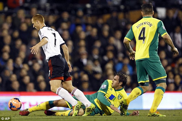 Through: Fulham beat Norwich 3-0 on Tuesday night without Ruiz as they progressed in the FA Cup