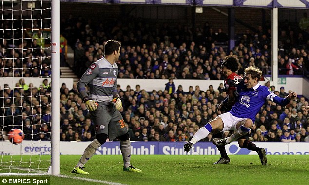 Leaving on a high: Jelavic bagged a brace in his final appearance for Everton
