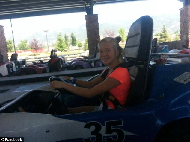 Happier times: Ramsdell-Oliva posted this picture of her daughter Kenadee driving a go-kart on her Facebook