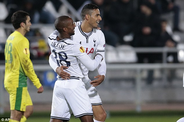 Rare bright spot: Chadli, right, and Jermain Defoe celebrate after scoring in the Europa League for Spurs