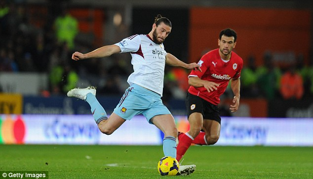 Back at last: Andy Carroll boosted West Ham with his long-awaited return to action at Cardiff last Saturday