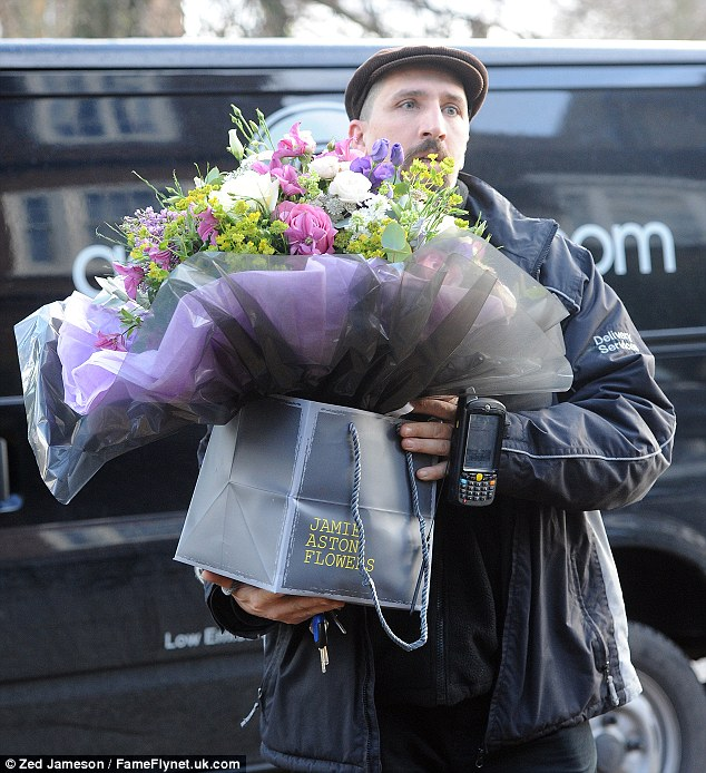 Floral love: Kate was sent numerous bouquets of flowers to her home for her 40th birthday