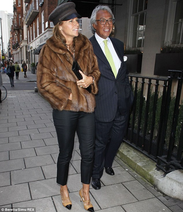 Lunch date: Shanghai Tang founder Sir David Tang looked dapper in a suit for the lunch